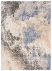 VERSAY Shaggy Modern Area Rug Abstract Multicolour Cream Durable