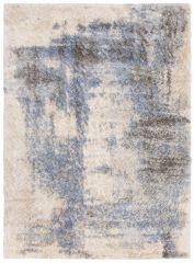 Versay Teppich Shaggy Creme Blau Grau Splash Meliert