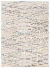 Versay Teppich Shaggy Meliert Creme Grau Streifen Karo
