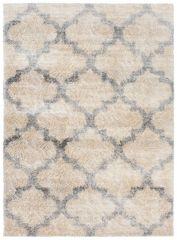 Versay Teppich Shaggy Creme Grau Modern Marokkanisch Gitter