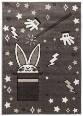 FIESTA Kinderteppich Grau Dunkelgrau Creme Kaninchen Hut Zauberei