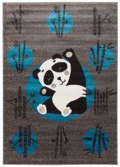 FIESTA Vloerkleed Tapijt Donkergrijs Zwart Wit Blauw Panda Kind