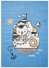 JOLLY Teppich Kurzflor Kinderteppich Spielmatte Blau Gelb Schiff