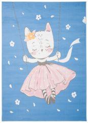 JOLLY Teppich Kurzflor Kinderteppich Spielmatte Blau Rosa Katze