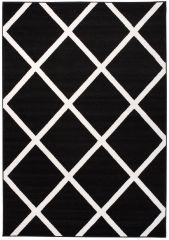 LAILA Modern Area Rug Trellis Geometric Design Black White Carpet