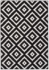 LAILA Modern Area Rug Diamond Geometric Black White Carpet