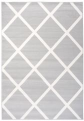 LAILA Modern Area Rug Trellis Geometric Grey White Durable