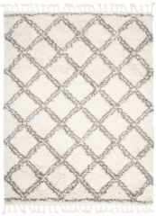BOHO Area Rug Shaggy Fringes Checkered Cream Dark Grey Durable