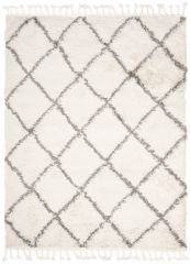 BOHO Area Rug Shaggy Fringes Diamond Lines Cream Grey Durable