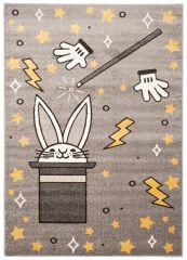 FIESTA Teppich Kurzflor Grau Gelb Orange Kaninchen Hut Zauberei