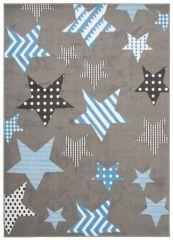 LUXURY Tapis Moderne Géométrique Etoiles Gris Bleu Blanc Noir Lisse