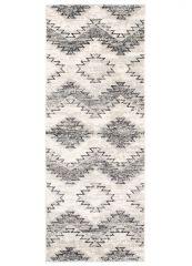 ETHNO Teppich Läufer Kurzflor Creme Grau Weiß Karo ZigZag Modern