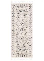 ETHNO Teppich Läufer Kurzflor Fransen Creme Grau Weiß Dreieck