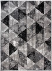 BALI Modern Area Rug Short Pile Geometric Triangle Grey