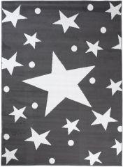 Bali Teppich Kurzflor Modern Grau Weiß Sterne Design