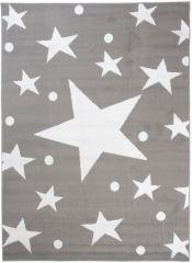 Bali Teppich Kurzflor Modern Hellgrau Weiß Sterne Design