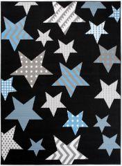 Bali Teppich Grau Schwarz Blau Sterne Kinderzimmer