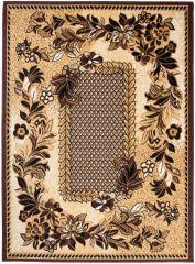 BALI Vloerkleed Tapijt Bruin Beige Bloemenprint Design Traditioneel
