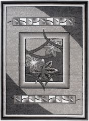 BALI Vloerkleed Tapijt Grijs Bloemenprint Design Geometrisch