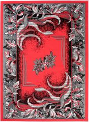 BALI Traditional Area Rug Short Pile Classic Floral Red