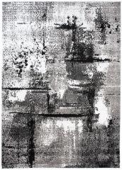 Maya Teppich Modern Grau Creme Schwarz Streifen Meliert