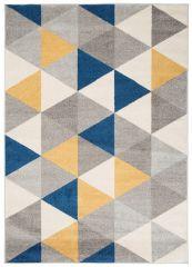 LAZUR Vloerkleed Tapijt Grijs Geel Blauw Design Modern Geometrisch