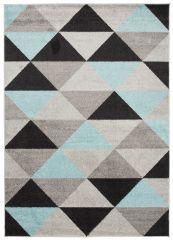 LAZUR Vloerkleed Tapijt Zwart Blauw Grijs Design Geometrisch Duurzaam