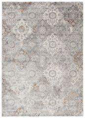 FEYRUZ Teppich Kurzflor Grau Creme Mehrfarbig Modern