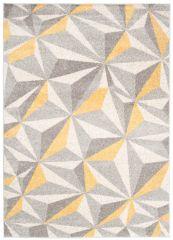 COSMO Teppich Kurzflor Gelb Grau Creme Modern Figuren Meliert