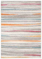 COSMO Modern Area Rug Short Pile Stripes Grey Multicolour