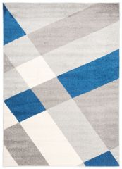 COSMO Modern Area Rug Short Pile Geometric Grey Blue Durable