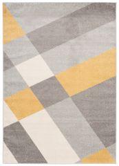 COSMO Modern Area Rug Short Pile Geometric Grey Mustard