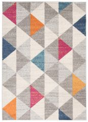 COSMO Modern Area Rug Short Pile Geometric Grey Multicolour