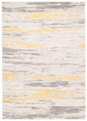 COSMO Modern Area Rug Short Pile Lines Grey Mustard Durable