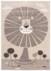 FIESTA Vloerkleed Tapijt Creme Donkerbruin Leeuw Kind Design Duurzaam