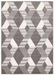 LAILA Modern Area Rug Short Pile Grey White Geometric Durable