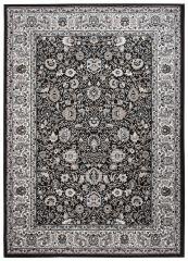 Laila Teppich Orientalisch Kurzflor Schwarz Grau Beige Floral