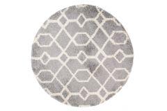 Teppich Boho Rund Shaggy Hochflor Grau Geometrisch Viereck Modern