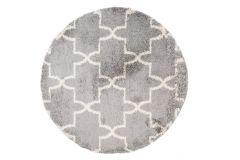Teppich Boho Rund Shaggy Hochflor Grau Beige Geometrisch Puzzle
