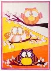 SMILE Area Rug Children Room Play Mat Animal Owl Orange Yellow