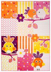 SMILE Area Rug Kids Room Play Mat Animal Birds Yellow Orange Pink