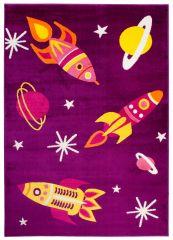 SMILE Tapis Moderne Univers Rocket Planète Violet Jaune Jeu Fin
