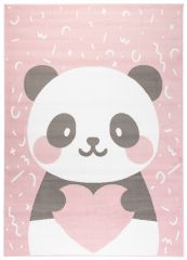JOLLY Teppich Kurzflor Kinderteppich Spielmatte Grau Rosa Panda