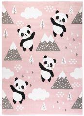 JOLLY Teppich Kurzflor Kinderteppich Spielmatte Rosa Grau Panda