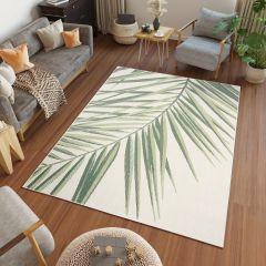 JUNGLE Teppich Sisal Outdoor Modern Palme Floral Creme Grün