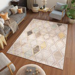 HAVANA Teppich Modern Geometrisch Karo Elfenbein Mehrfarbig