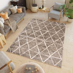 HAVANA Teppich Geometrisch Dreiecke Dunkelbraun Elfenbein Creme