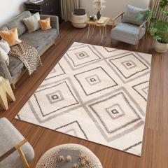 HAVANA Teppich Modern Karo Meliert Silber Grau Elfenbein Creme