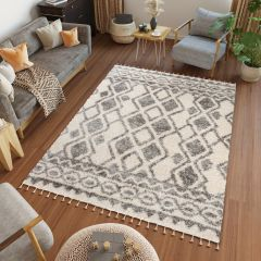VERSAY FRINGES Boho Shaggy Area Rug Ethno Fringe Cream Grey