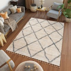 VERSAY FRINGES Boho Shaggy Area Rug Diamond Lines Cream